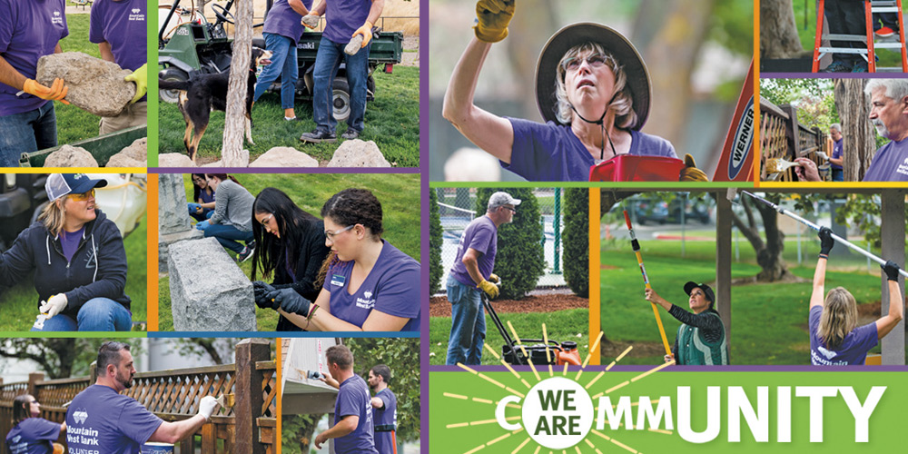 Collage photos of people doing volunteer work